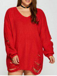 Distressed Plus Size Sweater - Rouge