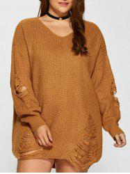 Distressed Plus Size Sweater - Terreux