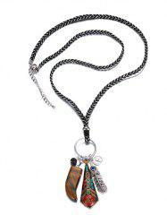 Faus Gemstone Braid Rope Sweater Chain - SILVER AND RED