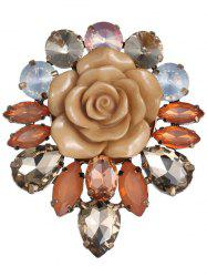 Waterdrop Faux Crystal Floral Enamel Brooch - COFFEE