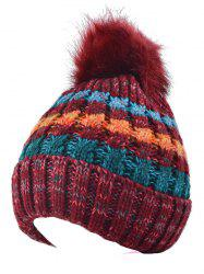 Color Splicing Knitted Fur Pom Ball Beanie Hat -
