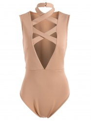 Sleeveless Tight Fit Plunge Low Cut Bodysuit -