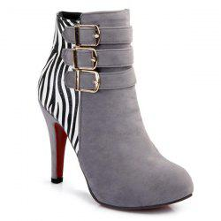 Zebra-Stripe Buckle Suede Ankle Boots - LIGHT GRAY 39