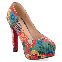 Chunky Heel Floral Print Pumps