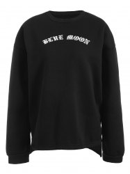 Letter Print High Low Sweatshirt - BLACK ONE SIZE