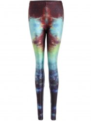 Skinny Print Galaxy Leggings - BLUE