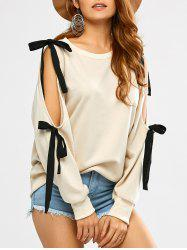 Bowknot Cold Shoulder Slash Neck Sweatshirt - BEIGE
