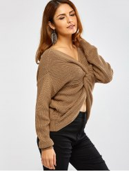 Twist Front Navel Baring V Neck Sweater -