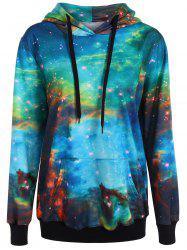 Galaxy Print Pullover Hoodie - AZURE ONE SIZE