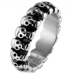 Vintage Engraved Skulls Ring -