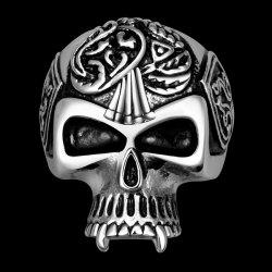 Alloy Engraved Skull Ring -