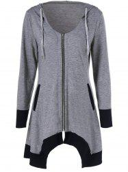 Zip Up Asymmetrical Hooded Tee - BLACK AND GREY XL