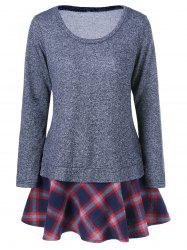 Elbow Patch Plaid Trim T-Shirt -