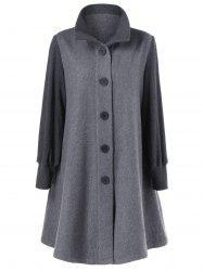 Button Up A-Line Woolen Coat - GRAY