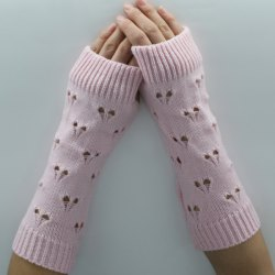 Hollow Out Heart Knitted Arm Warmers -