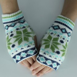 Christmas Snow Knitted Fingerless Gloves -