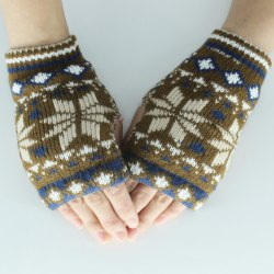 Christmas Snow Knitted Fingerless Gloves - KHAKI
