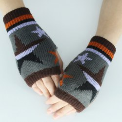 Star Knitted Fingerless Gloves -