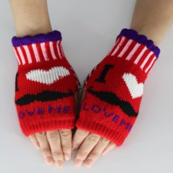 Beard Love Knitted Fingerless Gloves -