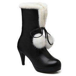 Pompon Cone Heel PU Leather Mid Calf Boots - BLACK