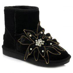 Beading Flower Ankle Snow Boots - BLACK 39