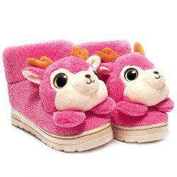 Fuzzy Cartoon Deer House Novelty Slippers - PINK