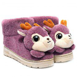 Fuzzy Cartoon Deer House Novelty Slippers - PURPLE