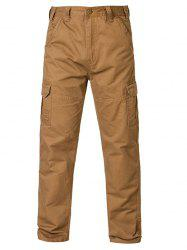 Straight Leg Pockets Cargo Chino Pants