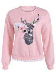 Deer Applique Lacework Insert Flocking Sweatshirt -