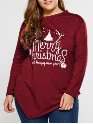 Plus Size Merry Christmas Print Asymmetric T-Shirt