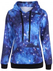 Plus Size Kangaroo Pocket Galaxy Hoodie - COLORMIX