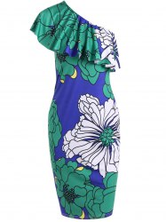One Shoulder Large Floral Print Bodycon Dress -