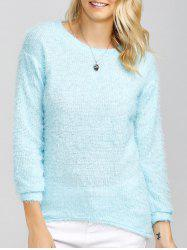 Drop Shoulder Long Fuzzy Sweater