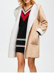 Hooded Faux Shearling Lined Wrtap Coat