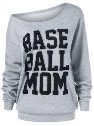 Base Ball Mom Skew Collar Sweatshirt