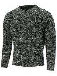 Crew Neck Heather Ribbed Knitted Pullover Sweater