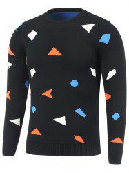 Crew Neck Geometric Pullover Knitwear