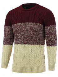Crew Neck Color Block Cable Knitted Sweater - DEEP RED 2XL