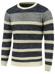 Crew Neck Color Block Striped Sweater