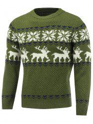 Snowflake Deer Pattern Crew Neck Christmas Sweater - GREEN 2XL