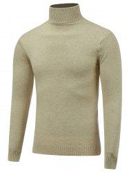 Stretchy Roll Neck Pullover Knitwear - BEIGE 2XL