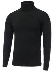 Stretchy Roll Neck Pullover Knitwear - BLACK