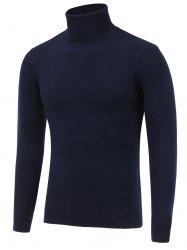 Stretchy Roll Neck Pullover Knitwear - CADETBLUE