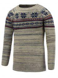 Crew Neck Christmas Snowflake Jacquard Sweater - GRAY 2XL