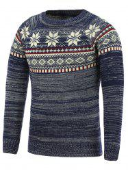 Crew Neck Christmas Snowflake Jacquard Sweater