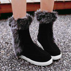 Hidden Wedge Furry Mid Calf Boots - BLACK 39