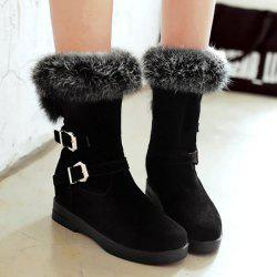 Buckle Straps Furry Mid Calf Boots - BLACK