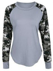 Raglan Sleeve Camouflage Panel T-Shirt - GRAY XL