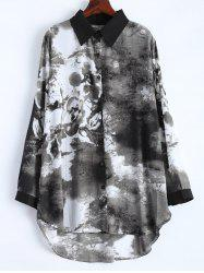 Plus Size Ink Painting Irregular Blouse -