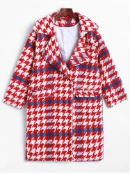 Lapel Houndstooth Woolen Coat -